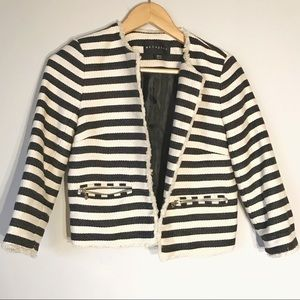 Metaphor cropped striped casual jacket blazer